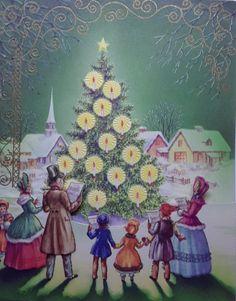 Vintage Christmas Card Victorian Carolers Town Tree Die Cut 3D Fold Down Flap