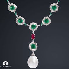 Emeralds, Ruby, Diamonds and Pearl necklace, a color combination that looks…