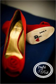 Painted Wedding Shoes These are GREAT for pictures!!   playfulandposh@gmail.com wedding pictures, red shoes, black and white wedding Photo Credit: Nine Photography