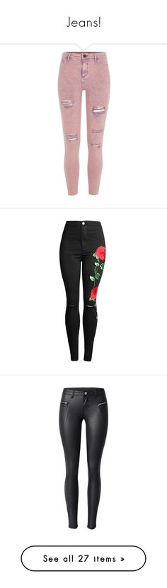 """""""Jeans!"""" by pharaoh-s ❤ liked on Polyvore featuring pants, bottoms, jeans, pink, sale, women, river island, distressed pants, tall pants and 5 pocket pants"""