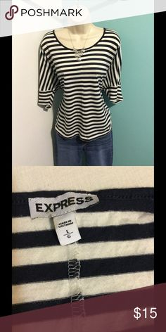 Express stripped dolman shirt Black & white stripped shirt with 3/4 length sleeve. Super soft and comfy Express Tops Tees - Short Sleeve