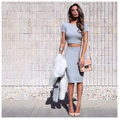 grey + nude. crop top. pencil skirt.