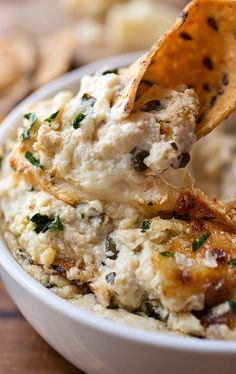 Hot & Cheesy Roasted Cauliflower and Spinach Dip with White Cheddar and Gruyere...