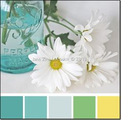 This could be a cool color theme, and we could even make vases out of mason jars and hang them by our desks