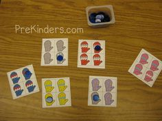 Printable for visual discrimination skills. Children find the mitten that is different.