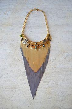 Iosselliani Long Faded Fringe Necklace at Una