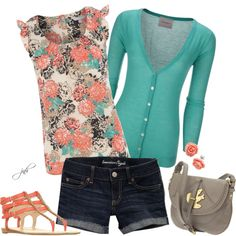 coral and teal by jill-hammel on Polyvore featuring Red Herring, American Eagle Outfitters, Nine West, Marc by Marc Jacobs, women's clothing, women's fashion, women, female, woman and misses