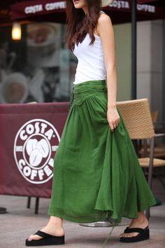 Summer Maxi skirt Long Linen Skirt In Forest by Sophiaclothing abb31f30f31b