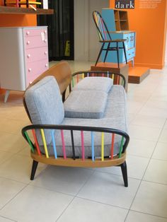 This colourful restoration of an old ercol studio couch in the window display of Heals is by High Wycombe charity Out of the Dark.  They provide training and employment to challenging youngsters, teaching them furniture making and restoration skills.
