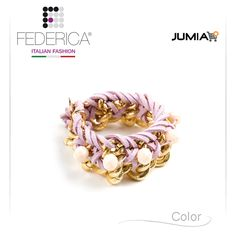 Bracelet ELISA 3  Woven chain bracelet with alcantara cord and stones. Gold/pale pink. 3.500,00 Ksh http://www.federicafashion.com/it/ep182/bracelet-elisa-3/ http://www.jumia.co.ke/federica-fashion/