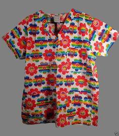 Scrub Top M Nursing Medical Uniform Rainbow Flowers Crisp #JustLove
