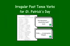 Irregular Past Tense Verbs for St. Patrick's Day from Speech Therapy Ideas. Pinned by SOS Inc. Resources. Follow all our boards at pinterest.com/sostherapy/ for therapy resources.