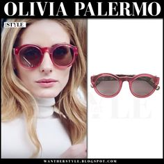 Olivia Palermo with round red sunglasses Max&Co