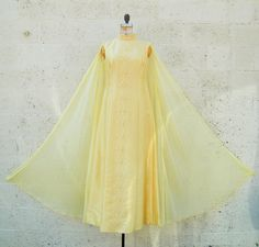 VTG 1960s Yellow Beaded Silk Chiffon Prom Gown by TwoVintageLadies