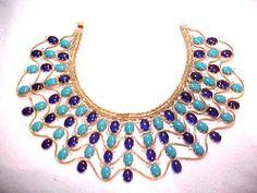 Vintage KJL Kennneth Jay Lane Egyptian Revival Runway Necklace Signed Mint