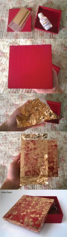 Passo-a-passo caixa dourada com técnica transfer #artesanato #decoração #mdf…