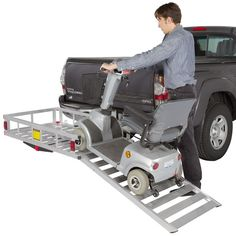 Loading mobility scooter on hitch mounted aluminum carrier