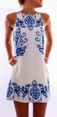 Jean Jail Blue & White Printed Dress