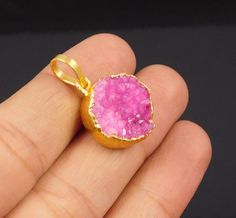 Awesome 18 Carat Gold Plated Pink Suger Druzy Handmade Pendant Jewelry NJ199 #Handmade