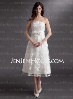 Wedding Dresses - $136.99 - A-Line/Princess Strapless Tea-Length Satin Lace Wedding Dresses (002016315) http://jenjenhouse.com/A-Line-Princess-Strapless-Tea-Length-Satin-Lace-Wedding-Dresses-002016315-g16315