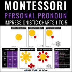 Montessori Personal Pronouns Impressionistic Charts 1 to 5 in Microsoft PowerPoint Presentation, Microsoft PowerPoint Show, and PDF formats. The PowerPoint Presentation includes manipulatives to give online learners an opportunity to practice completing the personal pronoun chart in online learning ... Personal Pronoun, Advanced Grammar, Microsoft Powerpoint, Teacher Newsletter, Impressionist, Montessori, Charts, Opportunity, Presentation