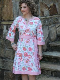 Corinne Caftan pattern designed by Serendipity Studio Dress Sewing Patterns, Clothing Patterns, Make Your Own Clothes, Batik Dress, Faux Wrap Dress, Sewing Clothes, Dressmaking, Serendipity, Inspiration