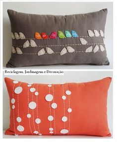 Embroidered and appliqued long cusions. Diy Pillows, Decorative Pillows, Cushions, Throw Pillows, Felt Cushion, Felt Pillow, Cushion Covers, Pillow Covers, Sewing Crafts