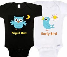 Night Owl and Early Bird twin onesies