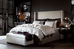 This type of head board for the main bedroom in black velvet?