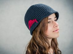 A 60's style knitted hat that goes perfect with a warm coat.