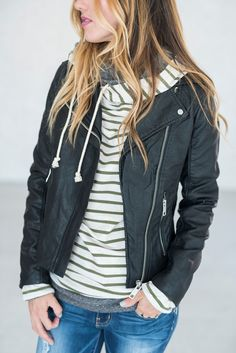 Totally rad moto jacket featuring exposed zipper details all over. This jacket is sure to catch all the right attention. - 100% Polyeurathane - Runs true to size - Dry clean only See Sierra's sizing H