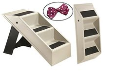 Blysh Small Dog and Cat Portable Folding 3 Step Pet Stairs Kit with Hair-Clip ** Want to know more, click on the image.