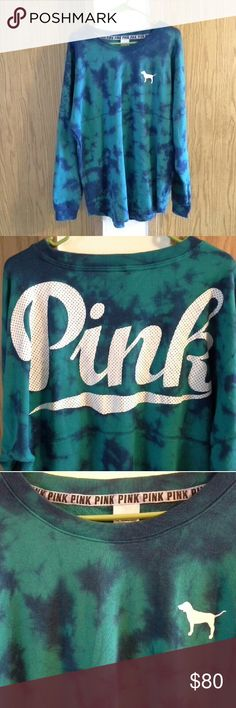 Blue/green tye dye crew Pink crew Color is blue/green tye dye Size large It is NWOT. I purchased, took the tags off and never wore it. It has been hanging in my closet. It has no flaws. It is in perfect condition. I am selling because I have never wore it. It is too big on me. It is very cute though.  NO HOLDS NO TRADES FIRM ON PRICE NO EXCEPTIONS PINK Victoria's Secret Tops Sweatshirts & Hoodies
