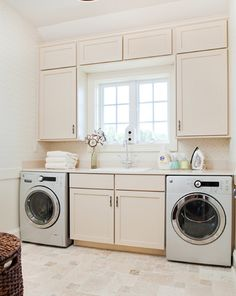 Laundry Photos Basement Laundry Design, Pictures, Remodel, Decor and Ideas - page 6 Pink Laundry Rooms, Laundry Room Remodel, Laundry Room Cabinets, Basement Laundry, Laundry Room Organization, Laundry In Bathroom, Small Bathroom, Bathroom Layout, Ikea Laundry