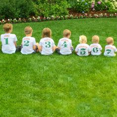 7 cousins all in a row!  Personalized kids t-shirts, perfect for family reunions and pictures.  The throwback baseball style of our Little League theme cannot be beat!