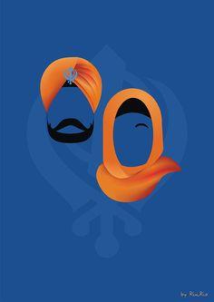 Sikh couple ♥ Art by RinRio Art Deco Typography, Birthday Canvas, Art Studio Room, Kanban Crafts, Indian Illustration, Lord Ganesha Paintings, Winter Art Projects, Cute Love Cartoons, Art Hub