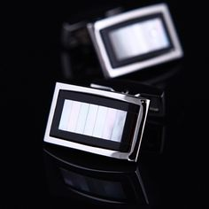White Mother Of Pearl Centered Cufflinks