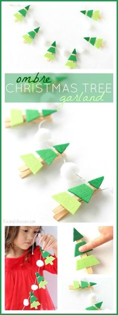 Ombre Christmas Tree Garland - Easy toddler craft for the holidays! - Ombre Christmas Tree Garland - Easy toddler craft for the holidays! Ombre Christmas Tree, Christmas Tree Garland, Noel Christmas, Christmas Decorations, Christmas 2019, Christmas Gifts, Handmade Christmas, Xmas Trees, Christmas Birthday