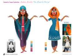 Costume and character explorations for Mira Forecasts the Future, written by Kell Andrews, Illustrated by Lissy Marlin Female Character Design, Character Design References, Character Design Inspiration, Character Concept, Character Art, Concept Art, Girls Characters, Female Characters, Indian Illustration