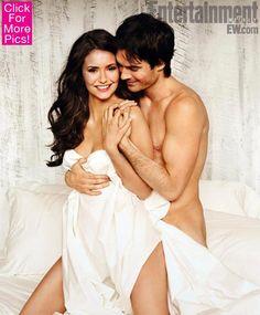 Nina Dobrev and Ian Somerhalder   Elena and Damon. #vampirediaries