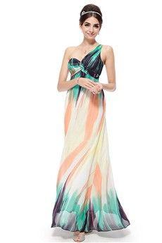 A-Line/Princess One Shoulder Floor-length Chiffon Prom Dress
