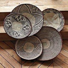 African Wall Baskets, Tonga Binga African Tribal Baskets in 2019 African Interior, African Home Decor, Accent Wall Designs, Arte Popular, Tonga, Baskets On Wall, Wall Basket, Woven Baskets, Traditional Decor