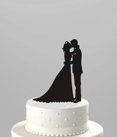 Wedding Cake Topper Silhouette Groom and Bride, Acrylic Cake Topper [CT38k1]