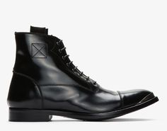 ON SALE: Alexander McQueen Black Leather Metal Trimmed Boots