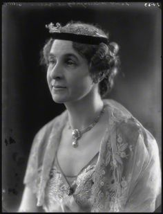 Marie Frances, Lady Willoughby de Broke, nee Hanbury, wearing a delicate diamond tiara, with ribbon base, in 1923.