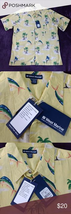 *West Marine* Size 2XL Men's Tropical Button Shirt Brand New W/Tags!!! Festive, tropical, Men's, button down, short sleeve shirt. Perfect gift for the Man, Dad, Grandpa or Fisherman in your life 😀. Yellow w/shades of green, blue, orange, white & brown in the design. Palm trees & fish. The yellow is a bit brighter than the pictures show. Excellent condition! From a smoke-free home. Please check all the pictures to determine the condition & the measurements. I have 2 more of the same shirt…