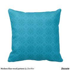 Modern blue wood pattern throw pillow