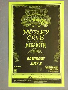 AUTOGRAPHED concert poster for Motley Crue in Albuquerque 1999.  11x17 inches on thin paper. HAND-SIGNED BY VINCE NEIL.