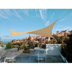 Freeport Park Solon 10' Triangle Shade Sail | Wayfair Triangle Shade Sail, Sun Sail Shade, Shade Sails, Pergola Shade, Diy Pergola, Backyard Shade, Retractable Pergola, Patio Shade, Outdoor Pergola
