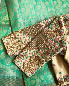 Stunning pink color designer blouse with floral design hand embroidery gold trhead and zardosi work. Blouse Back Neck Designs, Cutwork Blouse Designs, Wedding Saree Blouse Designs, Pattu Saree Blouse Designs, Hand Work Blouse Design, Stylish Blouse Design, Fancy Blouse Designs, Blouse Patterns, Traditional Blouse Designs